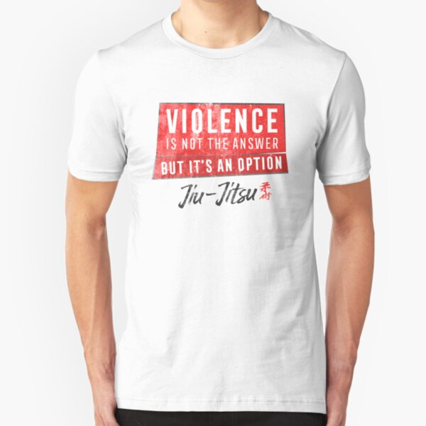 Jiu Jitsu Violence Not The Answer Dark Jujitsu BJJ Gift Dark Slim Fit T-Shirt