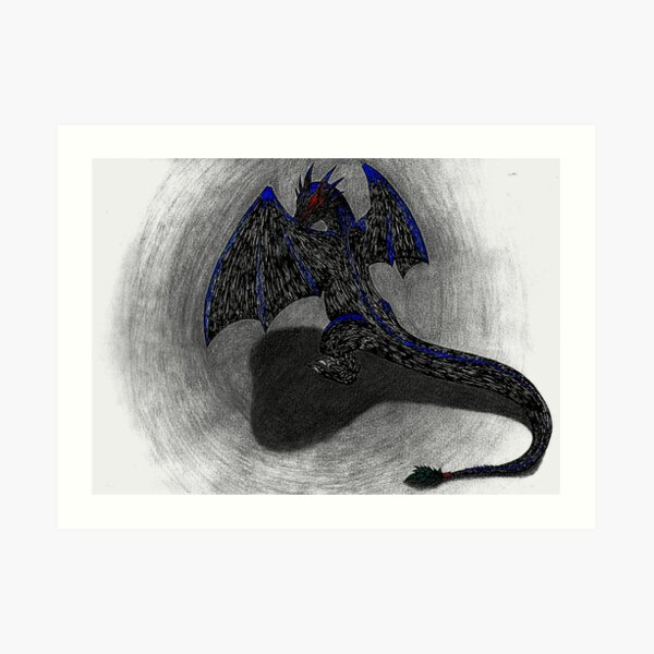 """""""Ink Dragon"""" - Drawing by JD Woods Art Print"""
