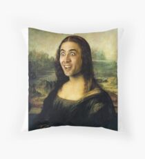 Nicholas Cage Mona Lisa Throw Pillow