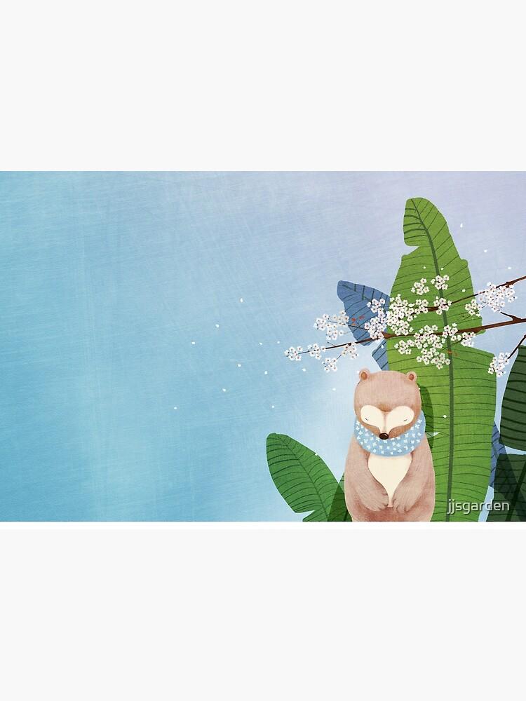 White Socks Series: Bear Under Sakura Blossom by jjsgarden