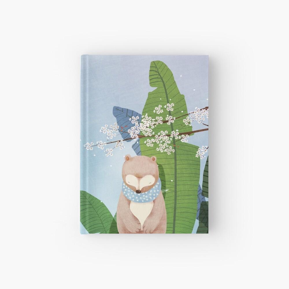 White Socks Series: Bear Under Sakura Blossom Hardcover Journal