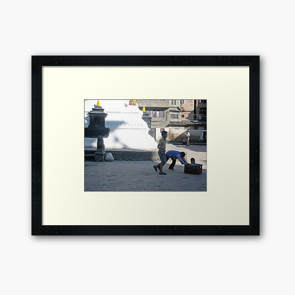 Urban sprawl,a stupa and milk-crate racing, Nepal Framed Art Print