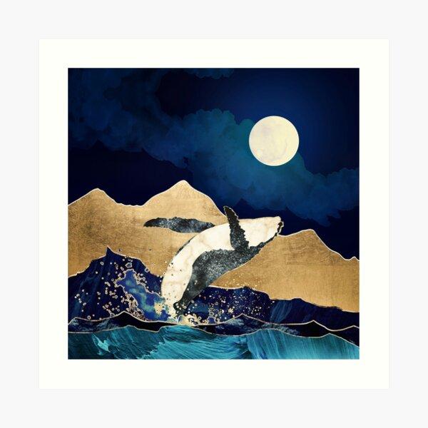 azul y montañas Lámina artística