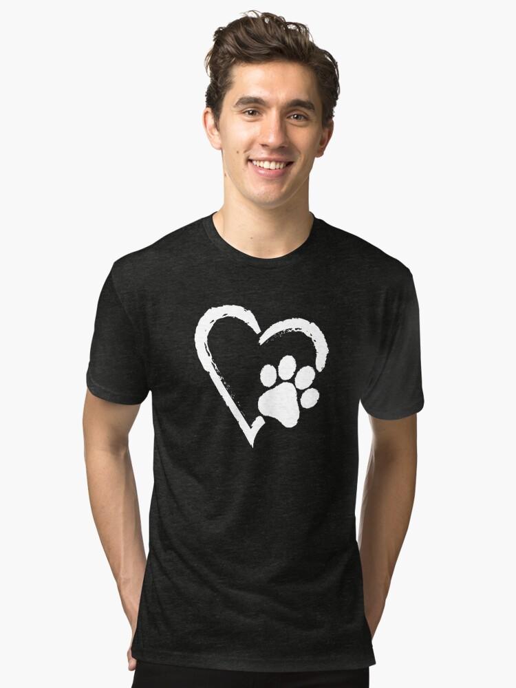 Alternate view of Love Heart Paw Print (white print) Tri-blend T-Shirt