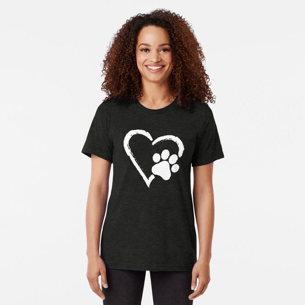 Love Heart Paw Print (white print) Tri-blend T-Shirt