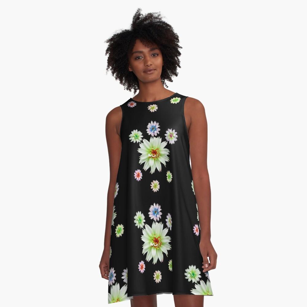 zauberhafte bunte Blumen, Blüten, Blume, Natur A-Linien Kleid