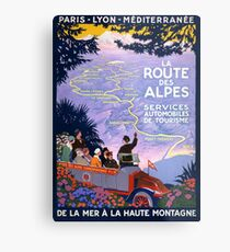 La route des Alpes Vintage Travel Poster Metal Print