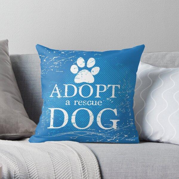 Adopt a Rescue Dog Pawprint Throw Pillow