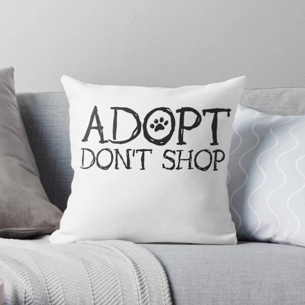 Adopt Don't Shop Fun Paw Print Font Throw Pillow