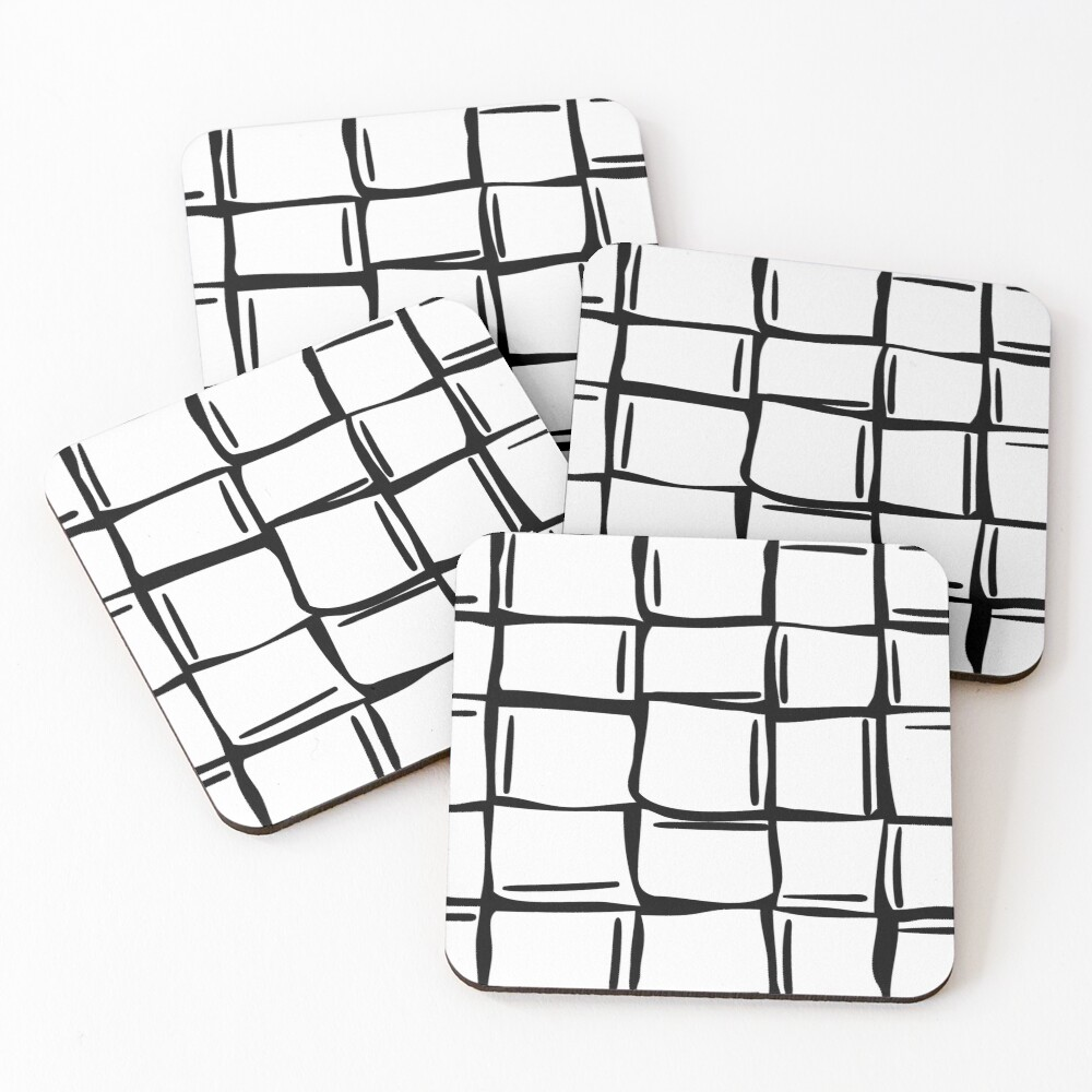 Black and white wonky ice cubes pattern Coasters (Set of 4)