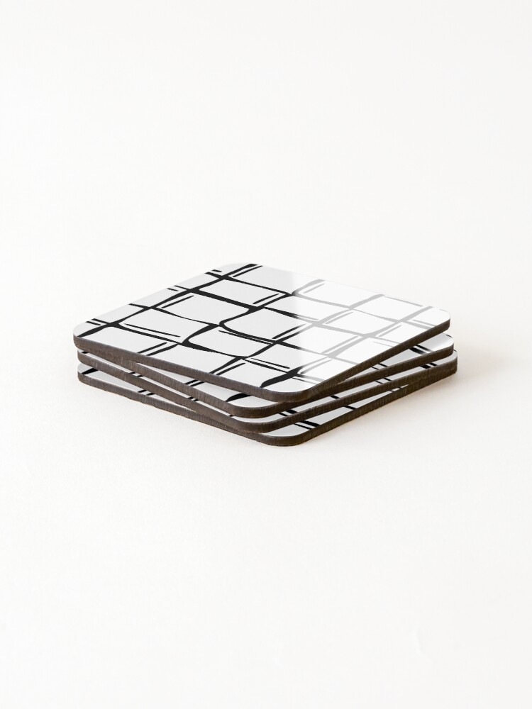 Alternate view of Black and white wonky ice cubes pattern Coasters (Set of 4)
