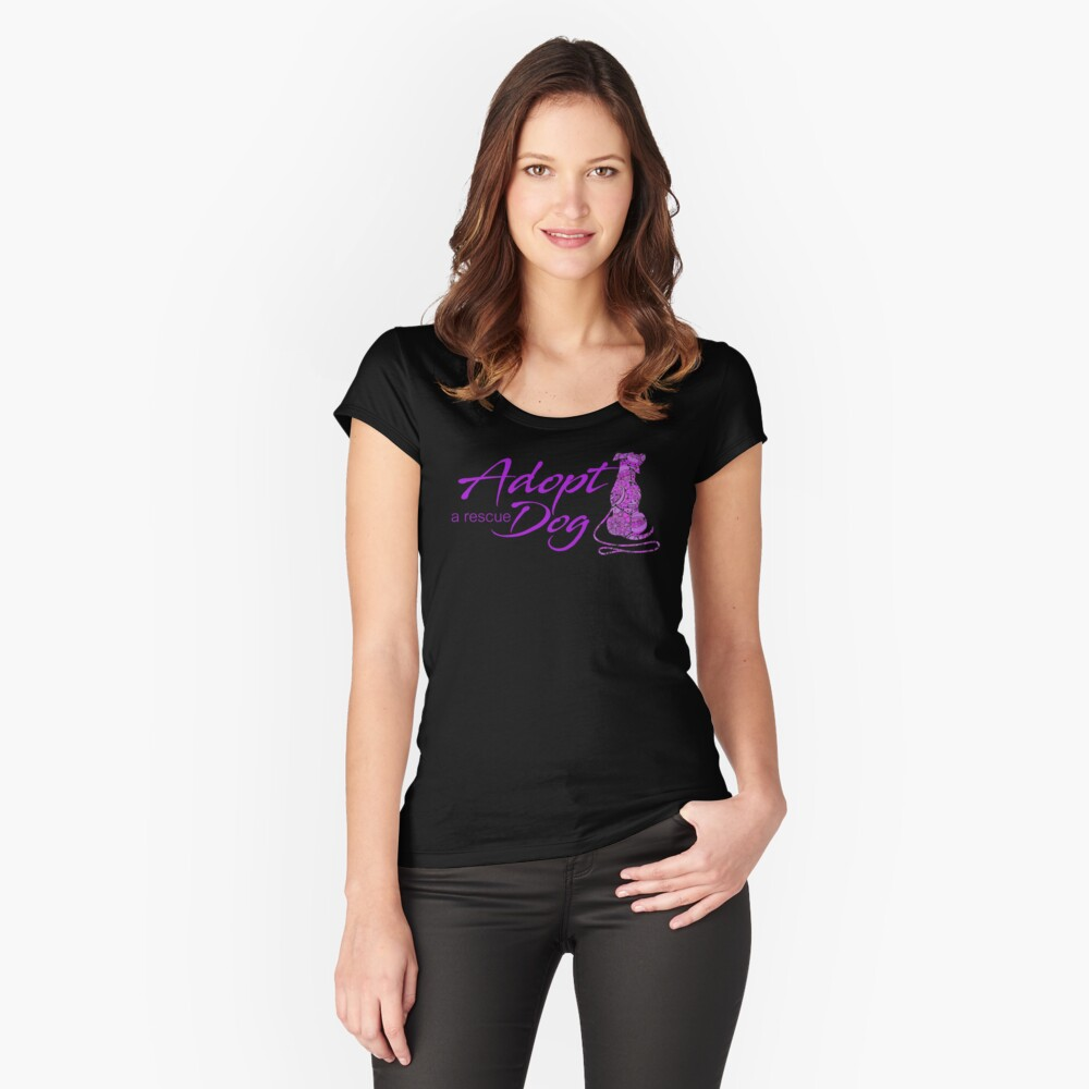 Adopt a Rescue Dog - Beautiful Paisley Dog - Bright Purple Fitted Scoop T-Shirt