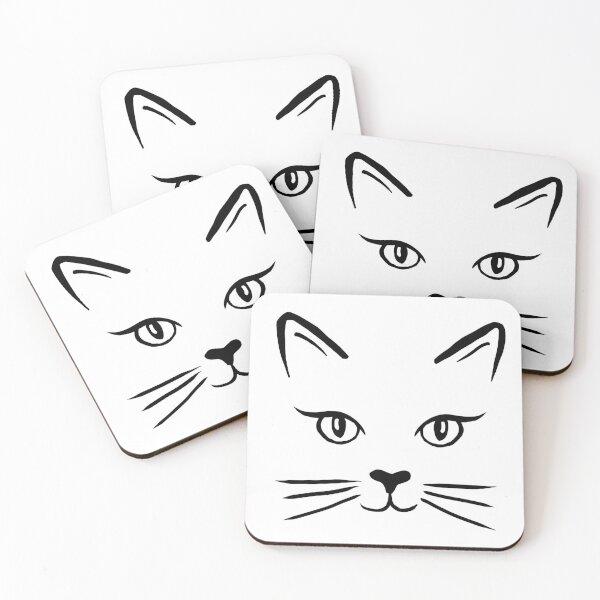 Cute Cat Face Coasters (Set of 4)