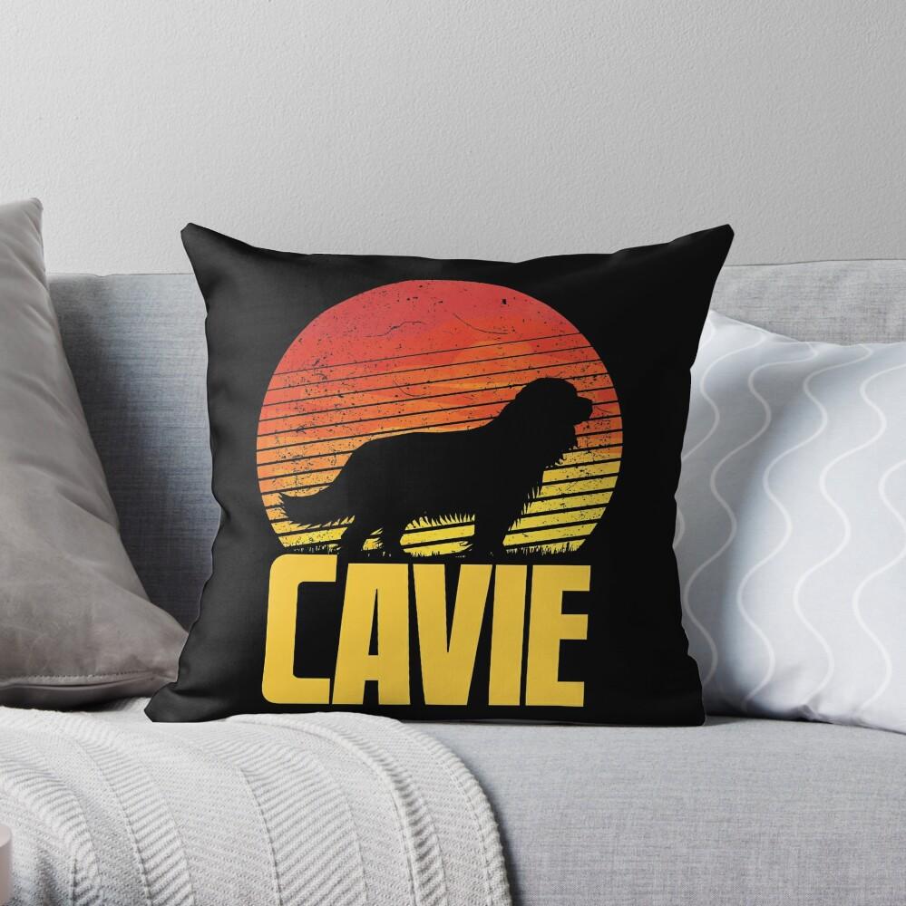 Sunset Cavalier King Charles Spaniel - Cool Sunshine Dog Silhouette Of A Cavalier King Charles Spaniel Throw Pillow