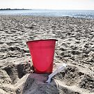 At The Beach.....Red Pail by Sharon A. Henson