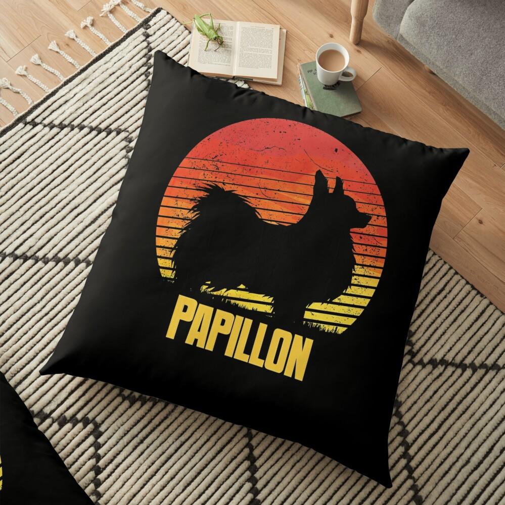 Sunset Papillon - Cool Sunshine Dog Silhouette Of A Papillon Floor Pillow