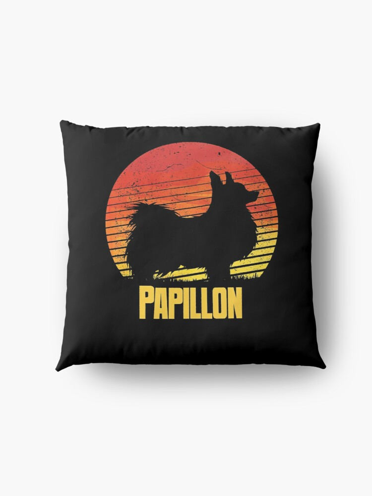 Alternate view of  Sunset Papillon - Cool Sunshine Dog Silhouette Of A Papillon Floor Pillow