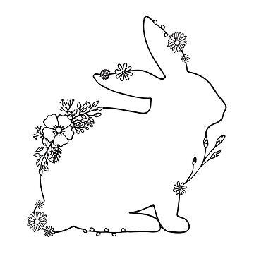 Floral Rabbit Drawing by aterkaderk