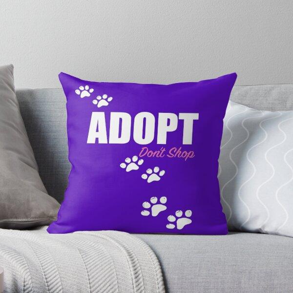 Adopt Don't Shop Paw Prints Throw Pillow