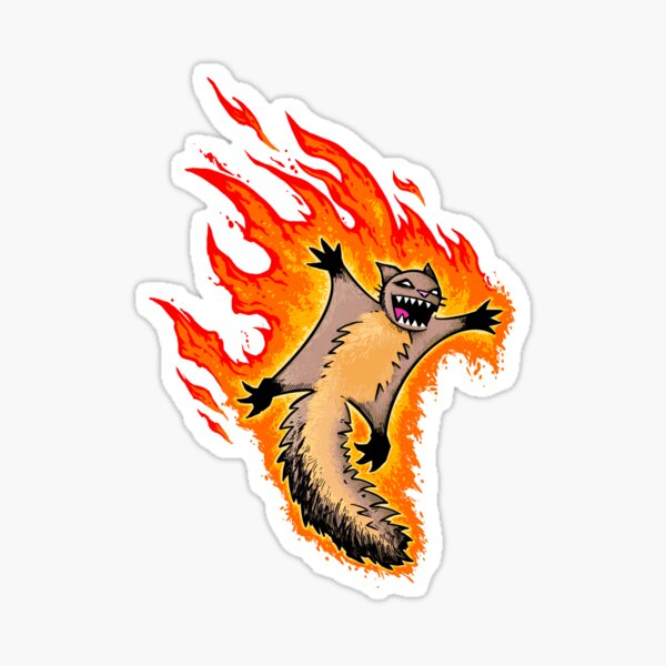 Fiery Squirrel Attack Sticker