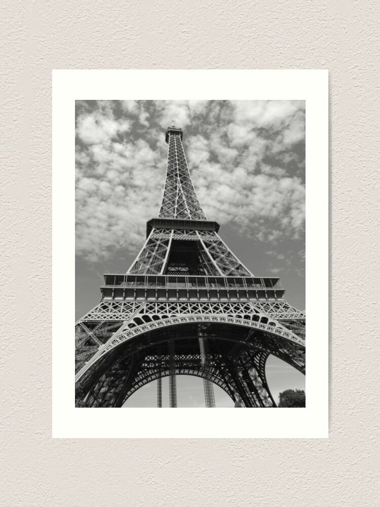 Eiffel Tower Paris France Low Angle Black And White Photography Art Print By Chantal15 Redbubble