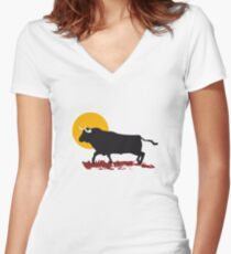bull and sun Women's Fitted V-Neck T-Shirt