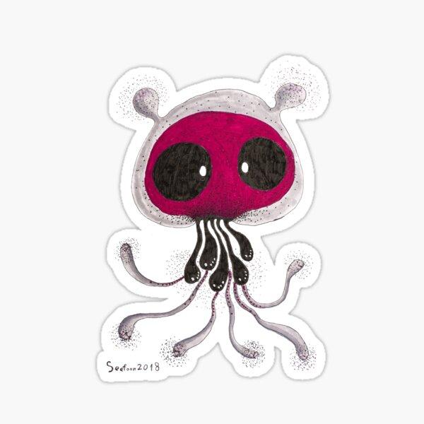 Red face skull Jellyfish Big eyes dot painting Sticker