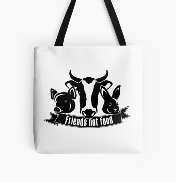 Friends not food All Over Print Tote Bag
