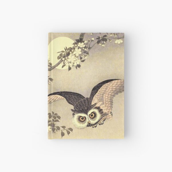 Koson Ohara - Scops Owl in Flight, Cherry Blossoms and Full Moon Hardcover Journal