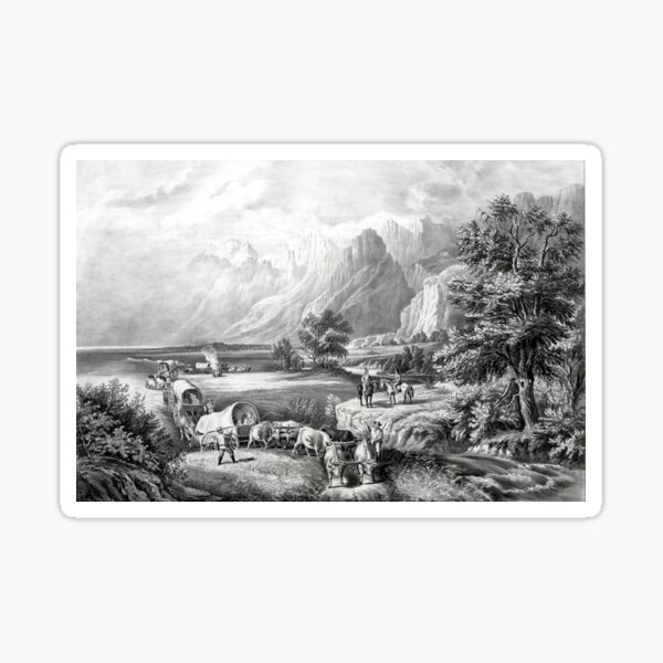 The Rocky Mountains - Emigrants Crossing the Plains - 1866 Sticker