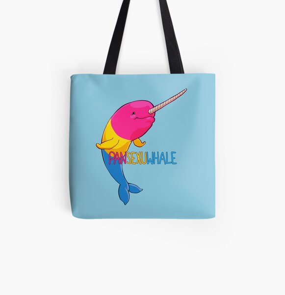 Pansexuwhale - with text All Over Print Tote Bag