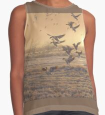 """""""First In"""", Pink-footed Geese at Dawn Contrast Tank"""