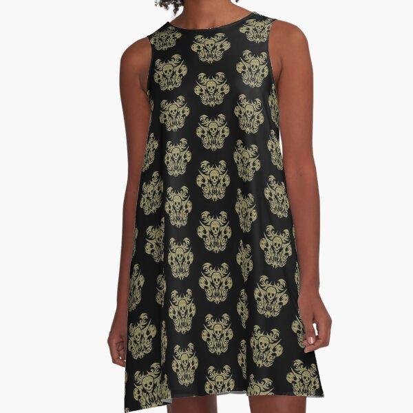 SKULL TRIBAL GOLDOPTIK A-Linien Kleid