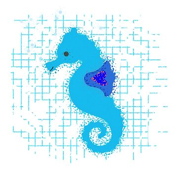 Blue Seahorse On Distressed Background by Almdrs