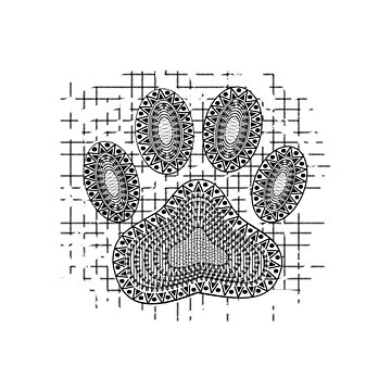 Tribal Dog Paw Print On Distressed Background by Almdrs