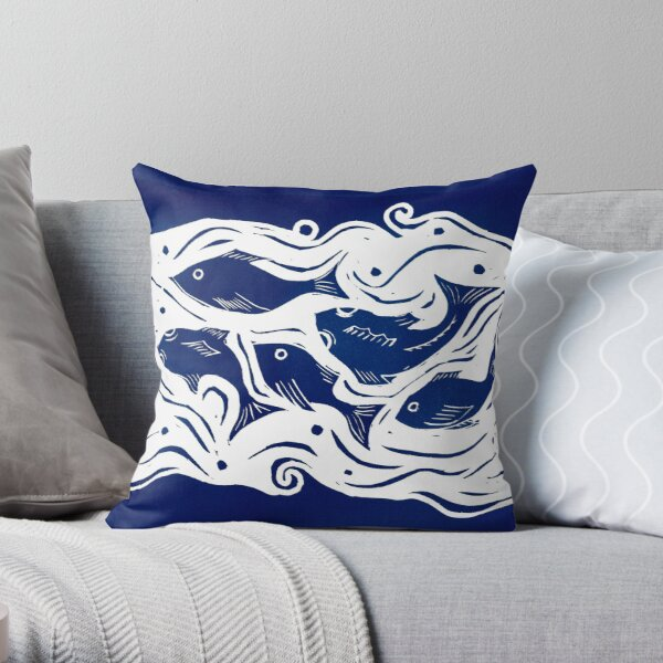 Fish linocut Throw Pillow