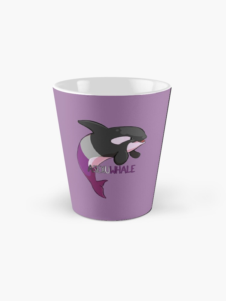 Alternate view of Asexuwhale - with text Mugs