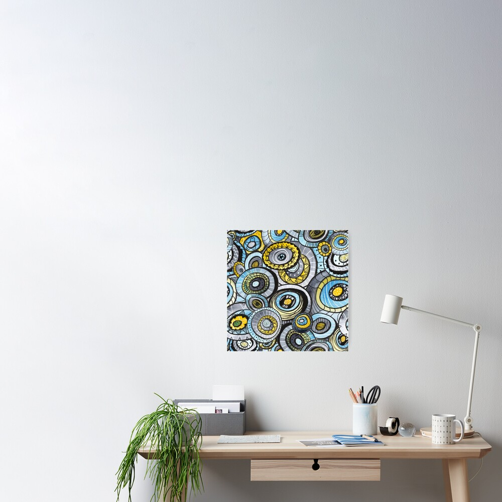 Zen circles I abstract round watercolor shapes with ink doodles Poster