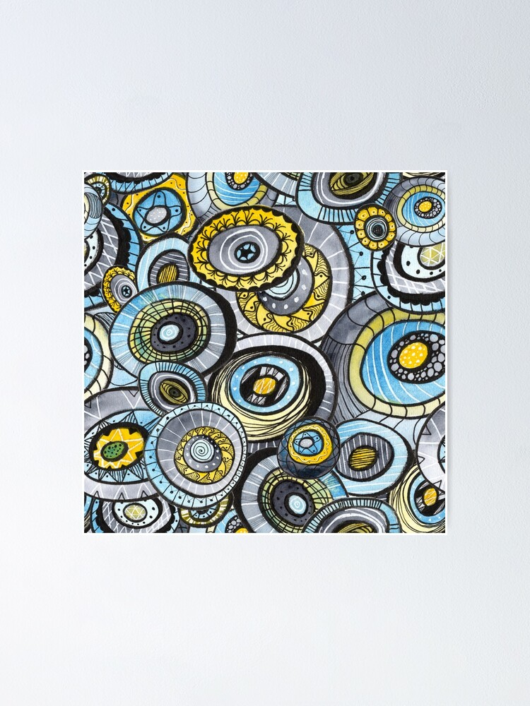 Alternate view of Zen circles I abstract round watercolor shapes with ink doodles Poster