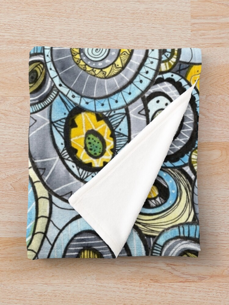 Alternate view of Zen circles I abstract round watercolor shapes with ink doodles Throw Blanket
