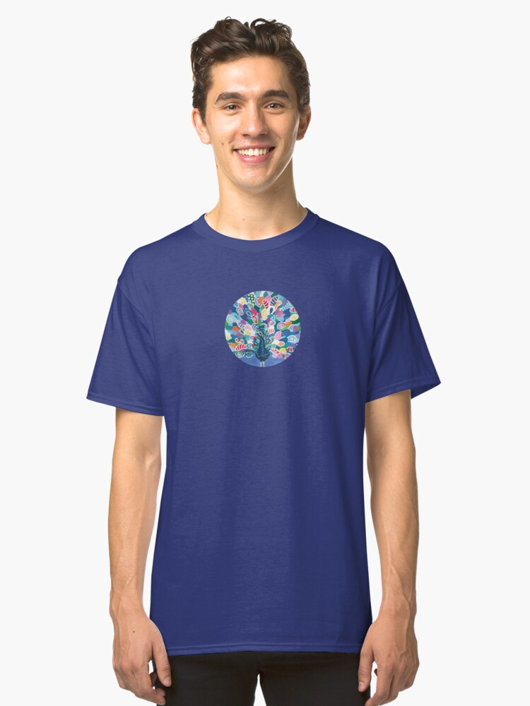 Alternate view of Rainbow Peacock Classic T-Shirt