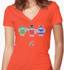 Droidarmy: Fruity Oaty Droids Women's Fitted V-Neck T-Shirt