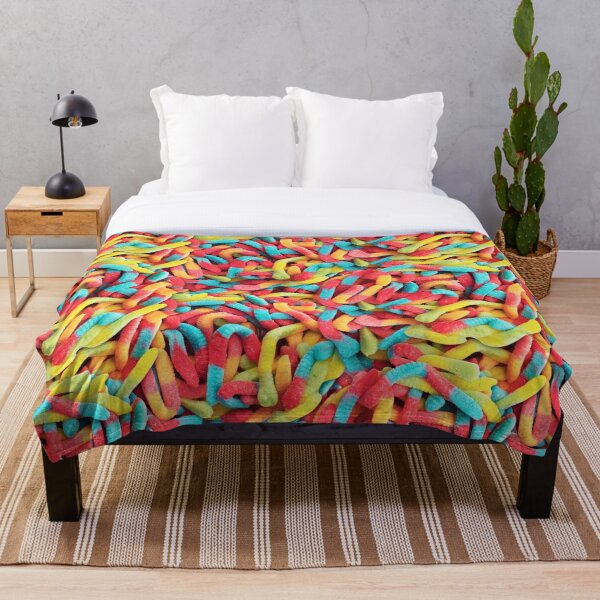 Neon Sour Gummy Worm Pattern Throw Blanket