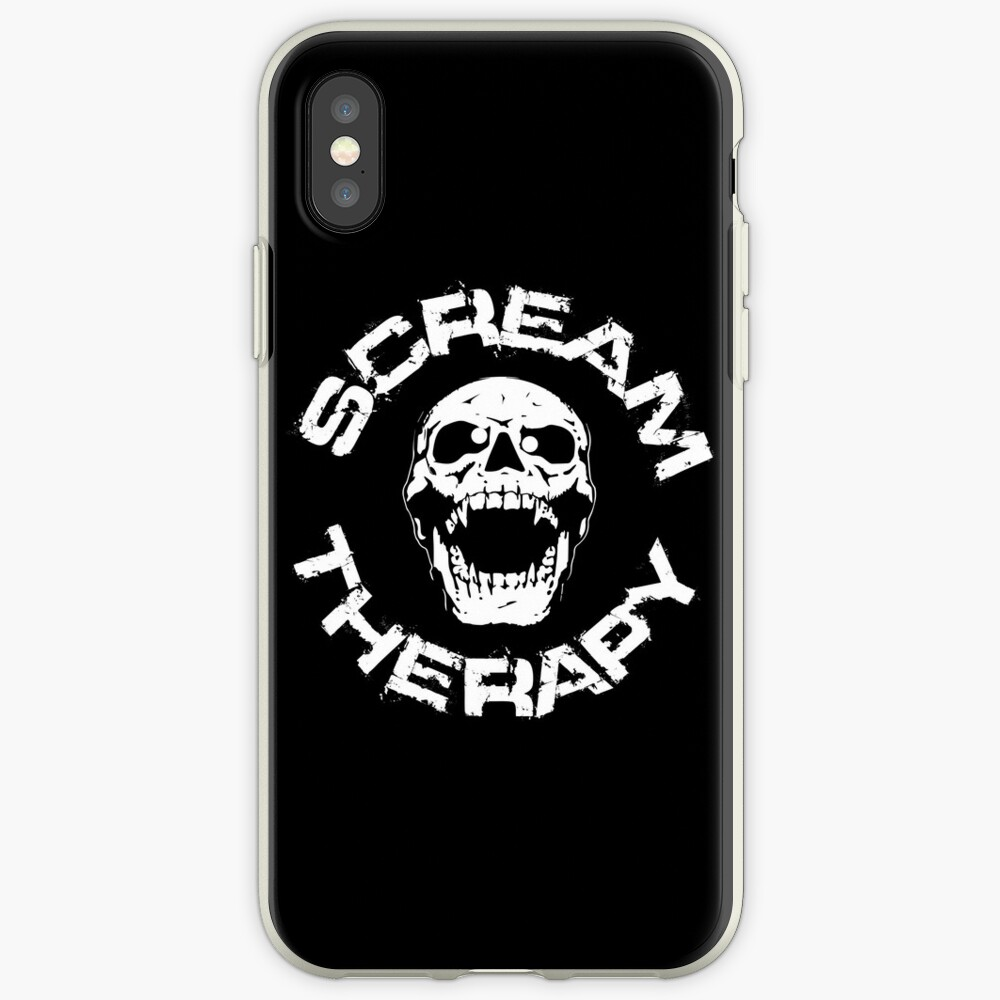 Scream Therapy - cross eyed skull white iPhone-Hülle & Cover