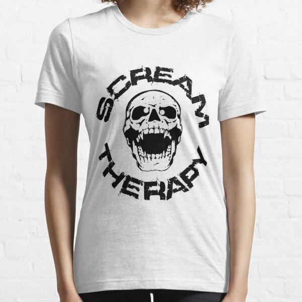 Scream Therapy - cross eyed skull black Essential T-Shirt