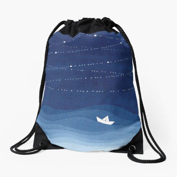 Garland of stars 2, blue watercolor Drawstring Bag