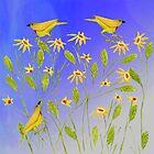 Blue Sky, Yellow Birds by MerryCox-Art