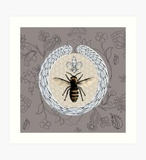 Diamonds and bees Art Print
