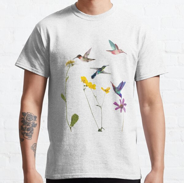 Hummingbird and Flowers Design Classic T-Shirt