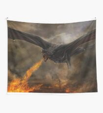 Daenerys' dragon Drogon setting the battlefield on fire. Wall Tapestry